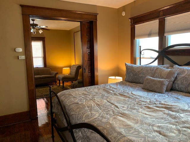 Bedroom with pocket doors
