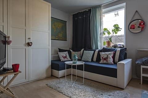 Truskawkowe studio z łazienką i kuchnią