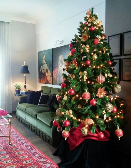 The spacious and finely furnished living room with Christmas decoration