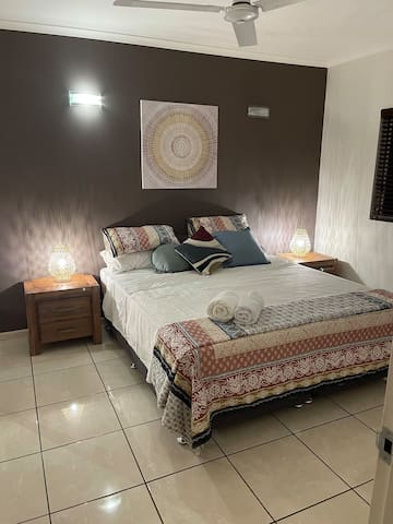 Bedroom 2, king sized bed with quality linen and air conditioning