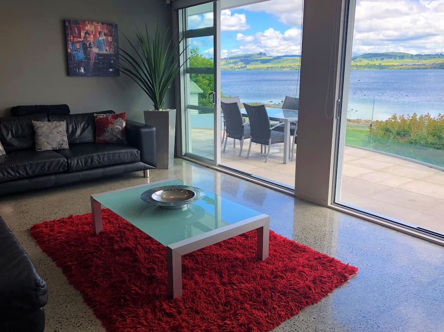 Enjoy the lake views from your living area and balcony