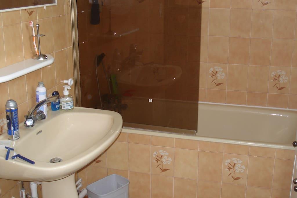La salle de bains également à partager.