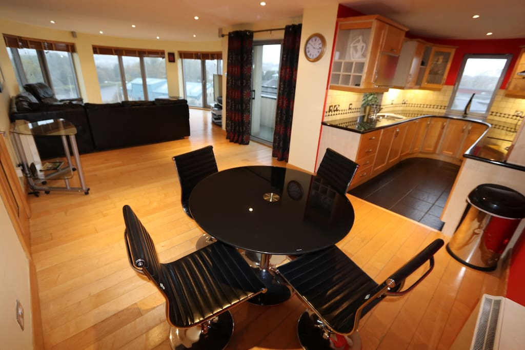 Open plan Lounge, Dining, Kitchen area with Lake views