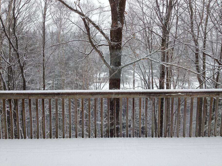 Great property for winter time fun!  View of Muskoka River from living room window.