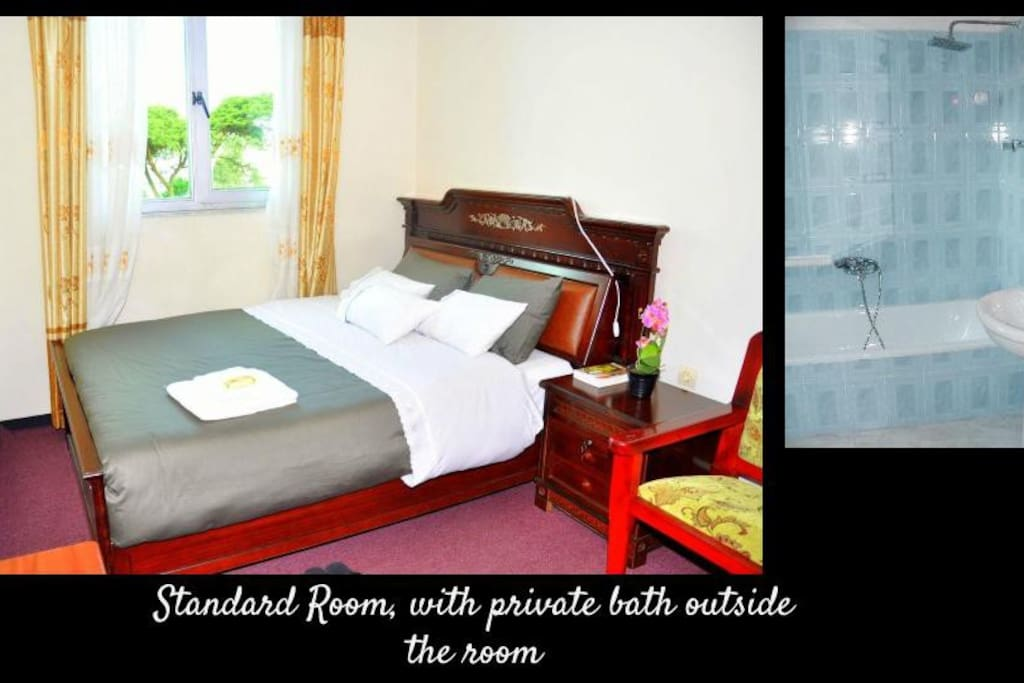 Two standard rooms (10m2 each) with queen size bed and private bathrooms. Please note that bathrooms are located outside the rooms.
