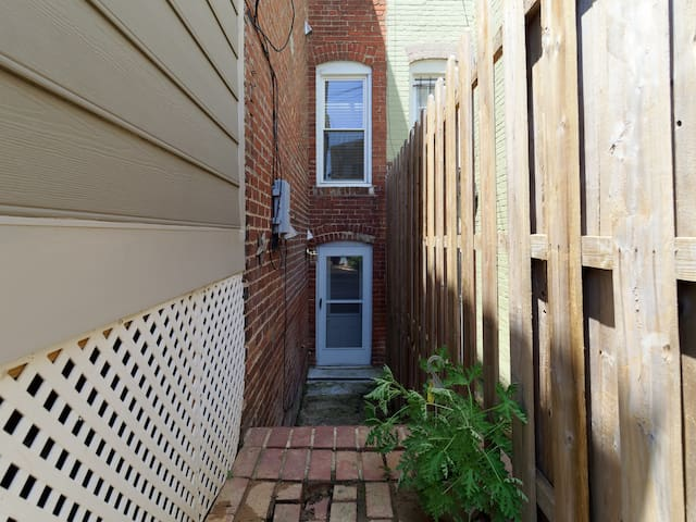 Private entrance to basement unit. Just a few steps down to the door.