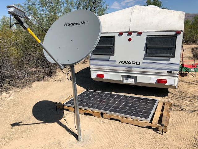 We do have solar power and satellite internet set up in the Lajitas Library trailer in the front left of the property. This is a community area that all guests are welcome to and includes WiFi, power outlets and an extensive library.