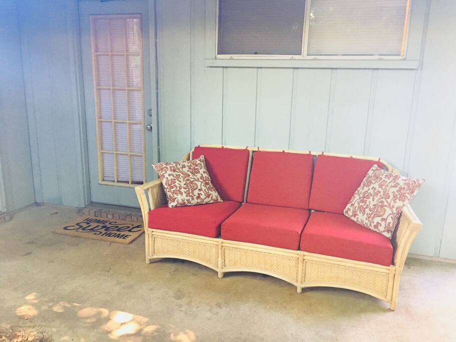 We now have a private entrance for our guests at the back of our home. Enjoy a glass of wine or cup of coffee on our new bamboo outdoor couch! The weather-proof cushions and pillows are incredibly plush.