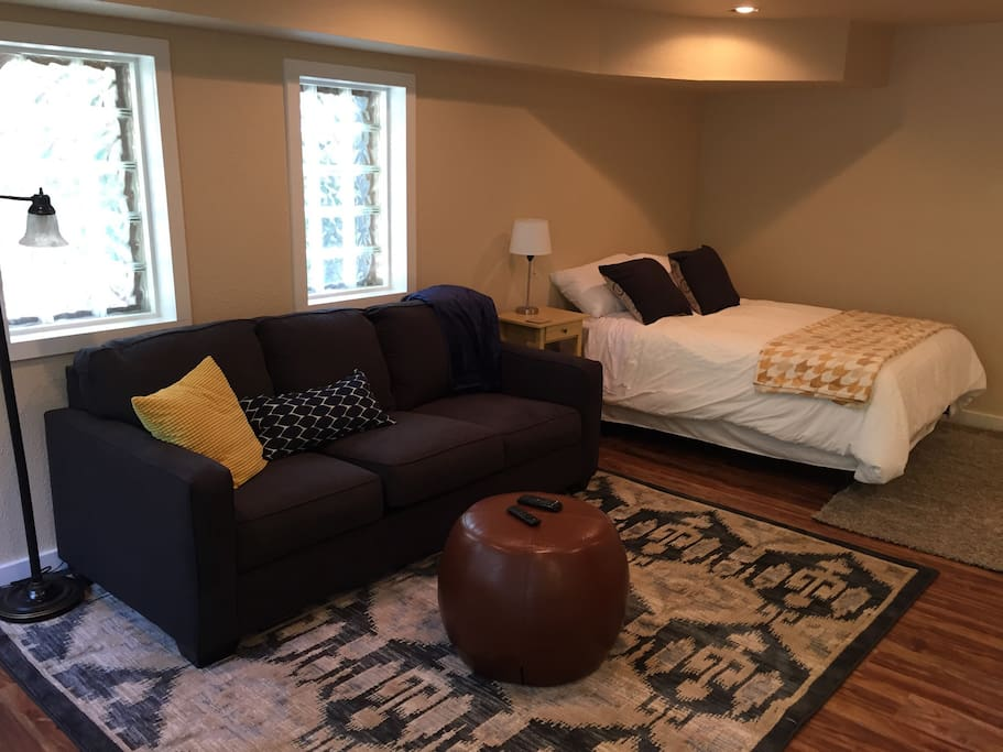 Fully furnished studio living space, with all new furniture and all the comforts of home.