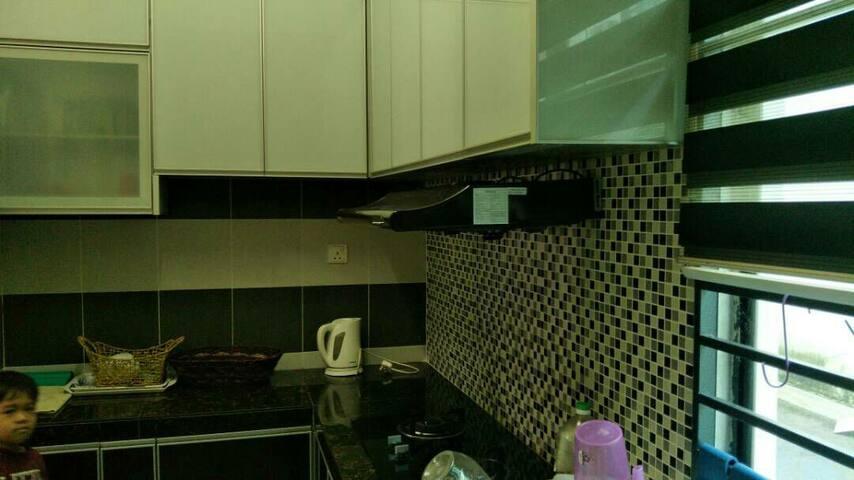 kitchen cabinet area