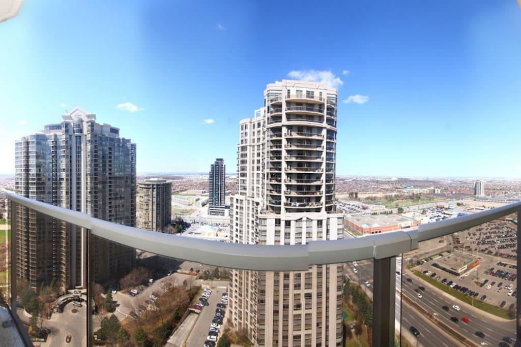 Panoramic view using fisheye lens.