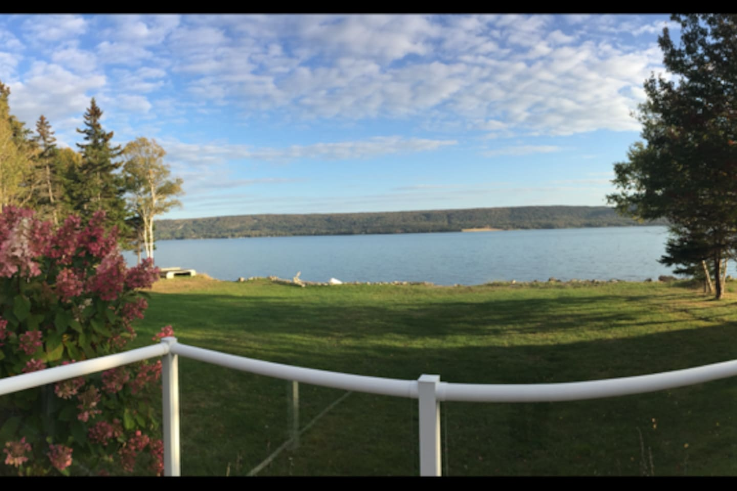 A view of the great Bras d'Or Lake from the front deck