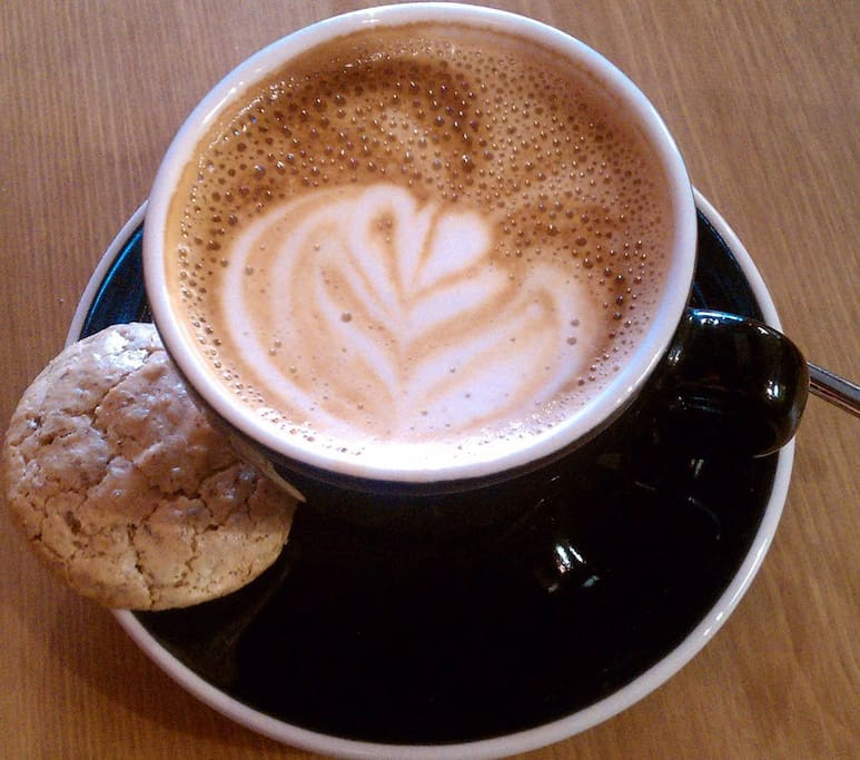 Cappuccino from our local Yeganeh Bakery & Cafe, few mins walk
