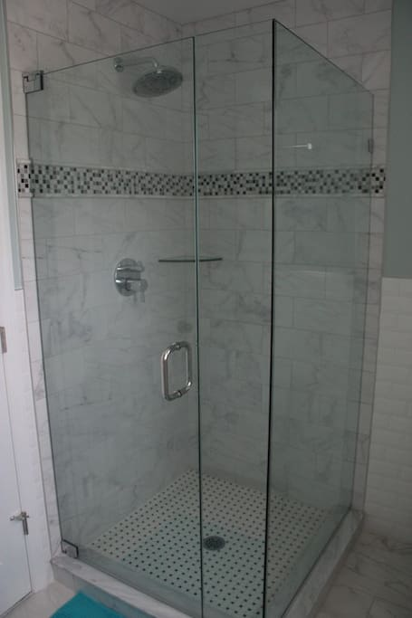 ...with new glass shower and beautiful tile work