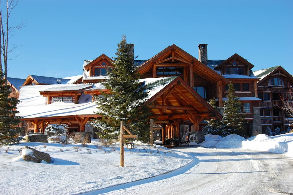 Front View of The Whiteface Lodge in the Winter.