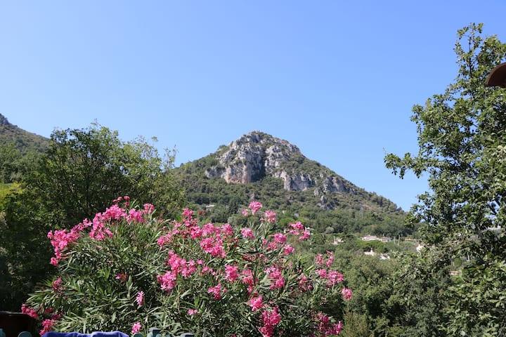 VENCE, T2 avec jardinet au calme face aux Baous.