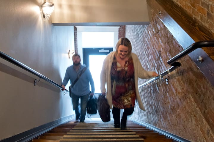"""The entrance to Hamlet Hotel features an old school staircase (24 steps!)...we call it the """"stairway to heaven!  :)"""
