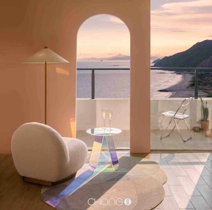 【几•宿】R-001 保利玥海 「高层一线海景公寓 | 最美夕阳」巨幕投影 距离沙滩1分钟