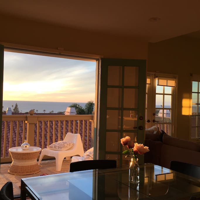 enjoy sunsets from kitchen