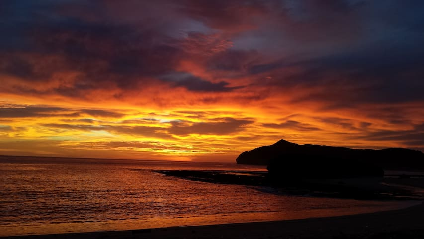 Spectacular sunsets from our beach just a couple blocks away.