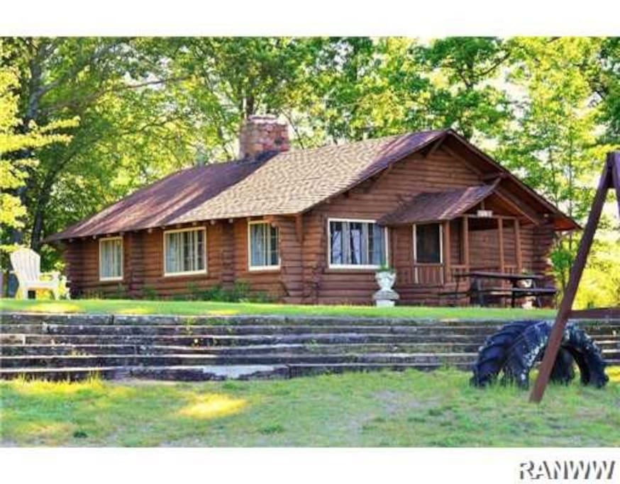 Gorgeous log cabin on big yellow lake in webster cabins for Wisconsin log cabin