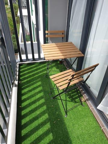 Balcony with grass carpet