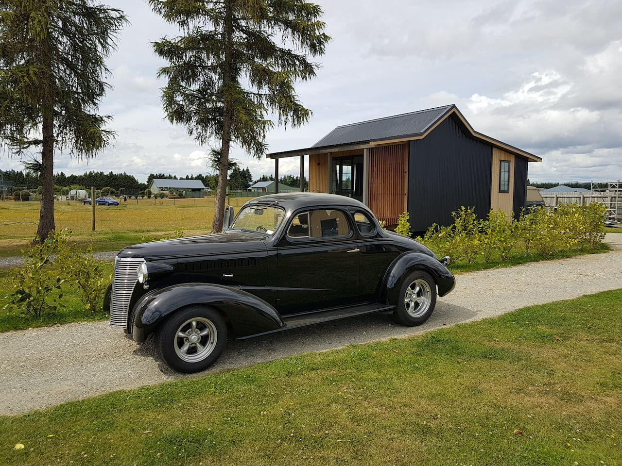 Tussock Hut and our 1938 Chevy Coupe