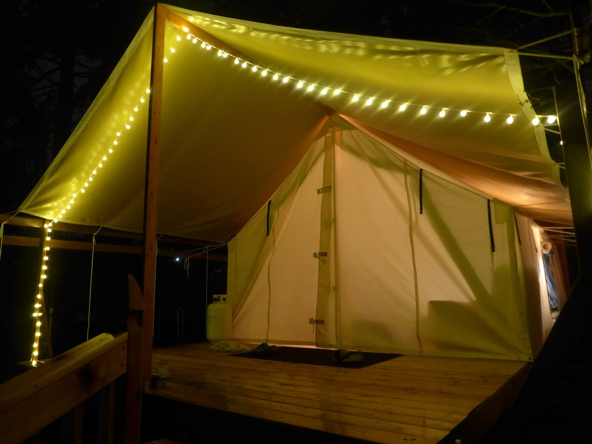 A beautiful view of the Seattle Safari tent at night. & Seattle Safari - Tents for Rent in Seattle Washington United States