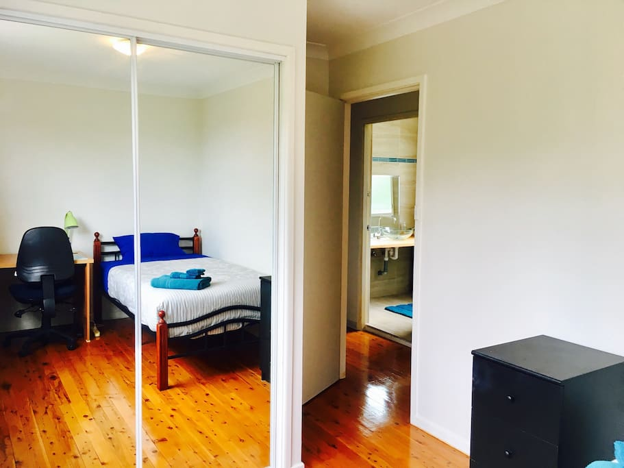 Room has mirrored built in cupboards with excellent storage area and immediate access to own bathroom.