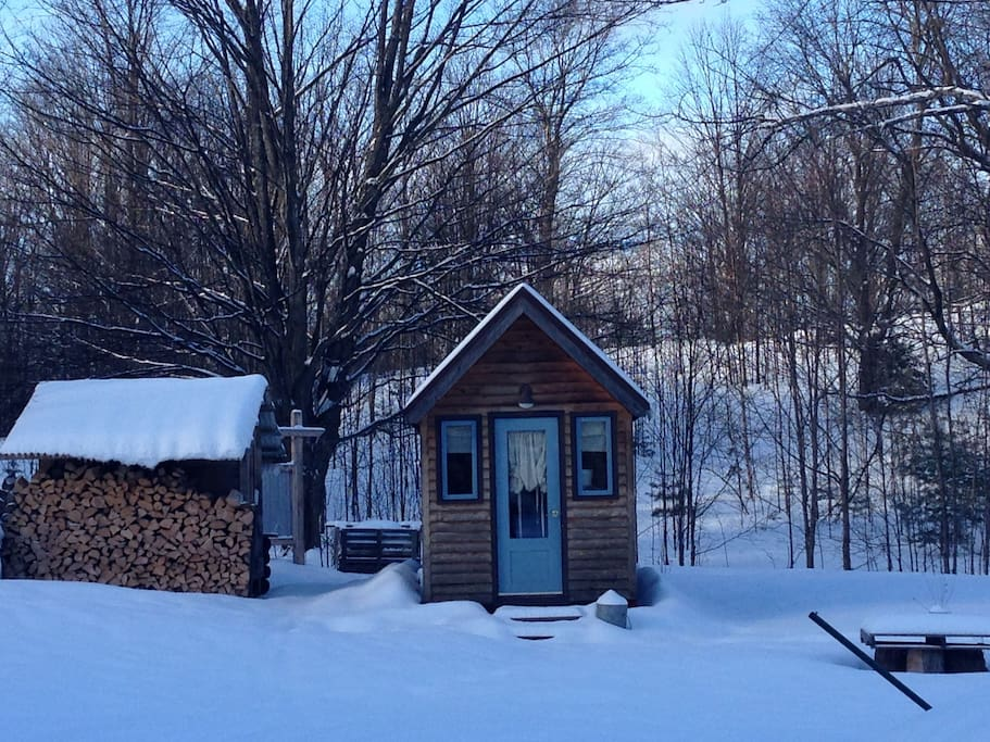 Cozy in the winter, too.  Private, close to Crystal Mt and xc skiing.  (And great for Fall Color Weekend Getaways, too!)