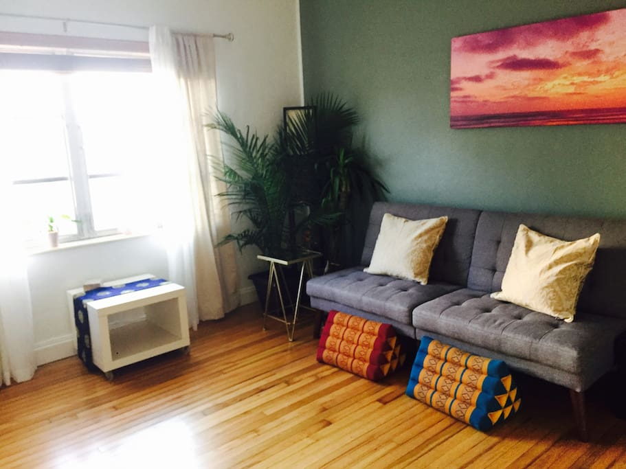 lots of sun and brand new wood floors