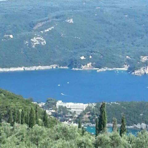 Villa Luce above Marina of Gouvia, stunning view