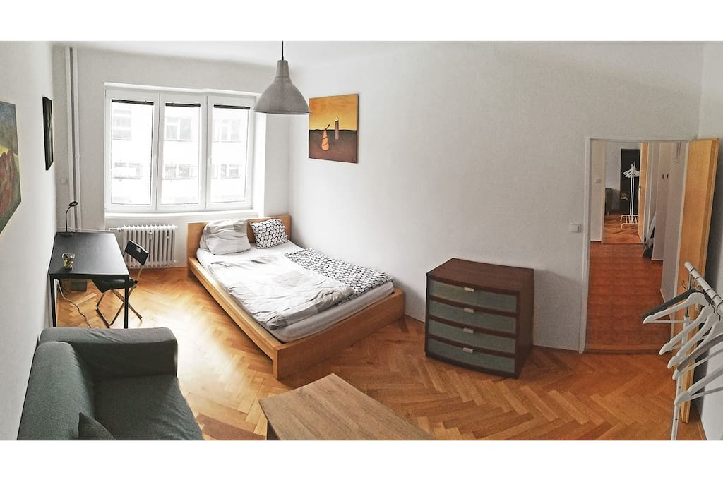 One of the two rooms, modern, cozy, spacious and more private.