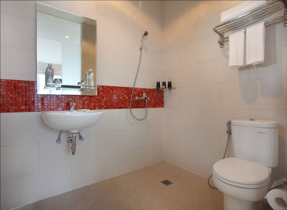 bathroom with shower, we provide shampoo and soap