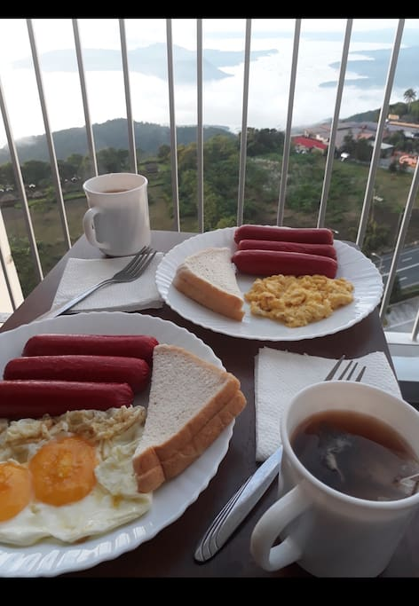 You could prepare your own breakfast in the balcony with relaxing view of Taal :)