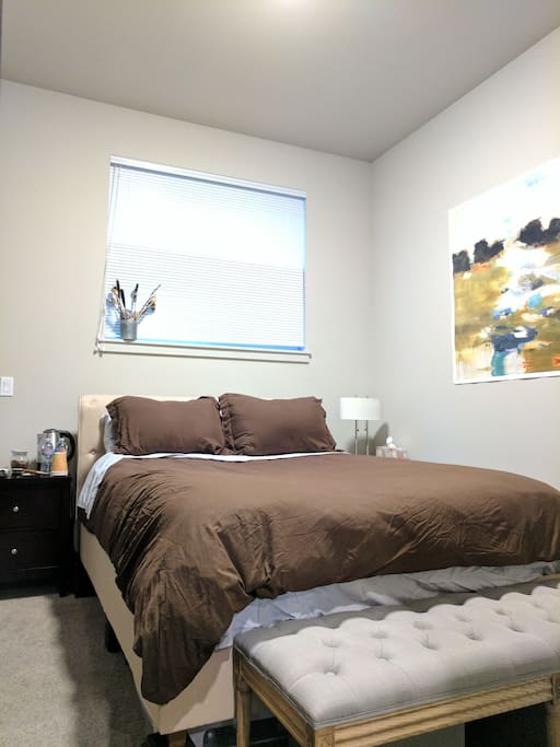 Fully private bedroom, with super comfortable queen bed, closet space, wifi, high ceilings, beverage station, extra blanket, mirrors, air purifier, blinds.