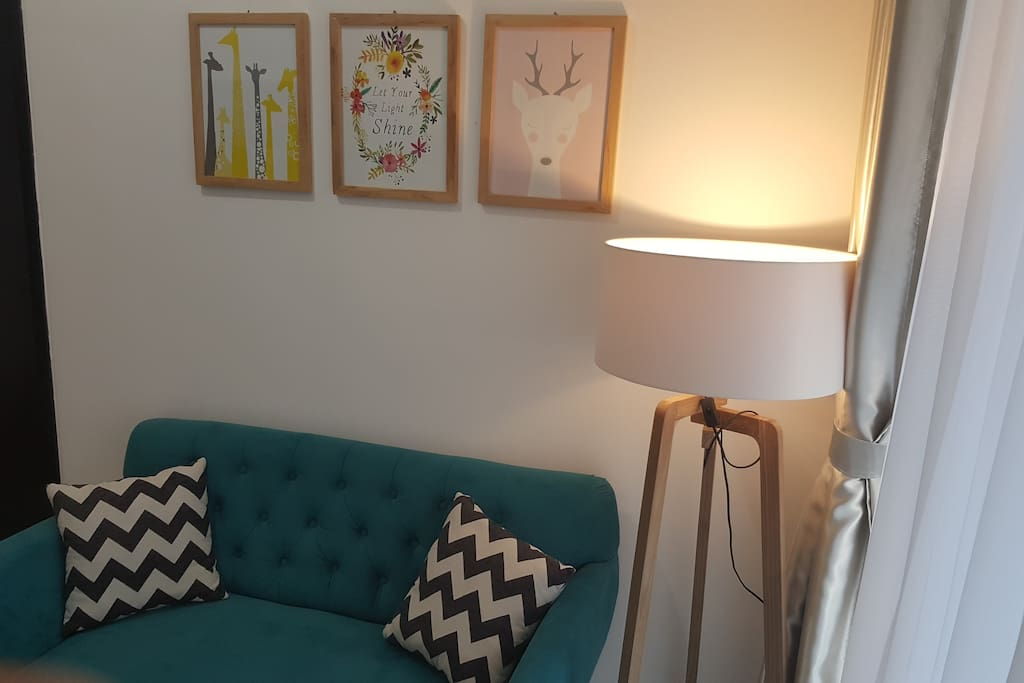 Sofa and standing lamp