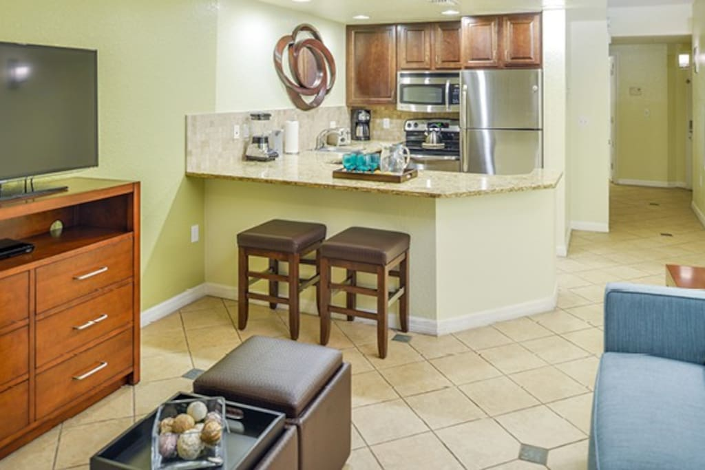 Enjoy the convenience (and cost savings!) with a fully-equipped mini-kitchen.