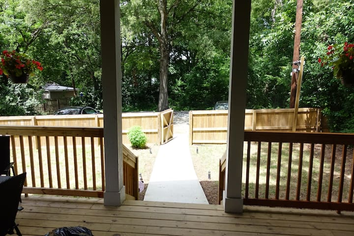 Back porch view to parking deck.