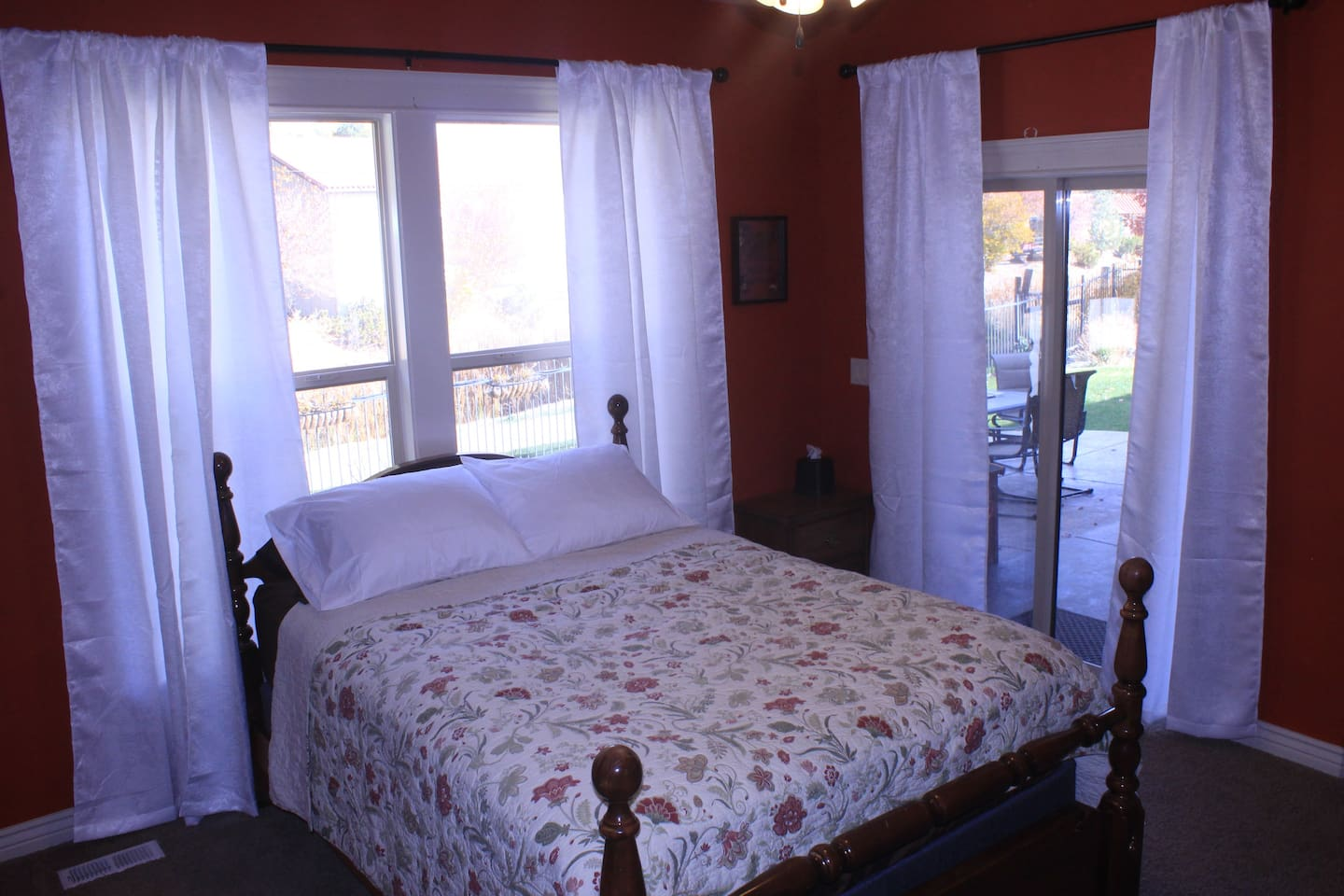 queen bedroom suite, private entrance, and access to the patio for fresh air