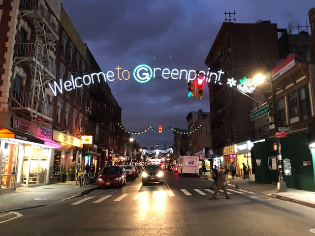 The main street of Greenpoint one block away!