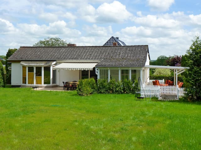 Holiday home with terrace and large garden, 200 m from beautiful swimming location
