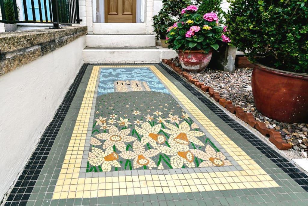 Owner designed mosaic path