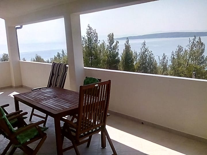 Panoramic sea view from huge balcony at Zavala