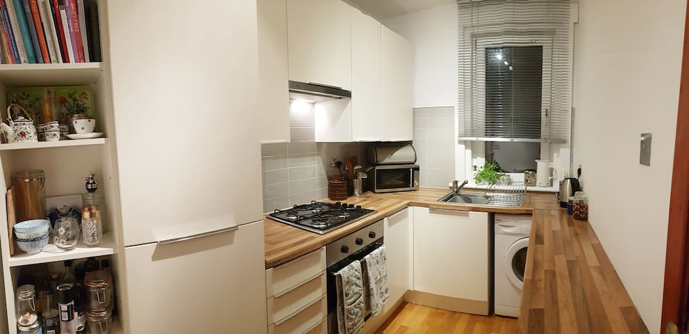 Kitchen where guests are welcome to prepare their own food