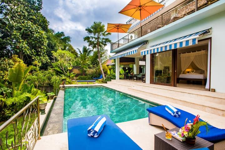 UbudHillside 5BDR villa in ricefield, jungle view!