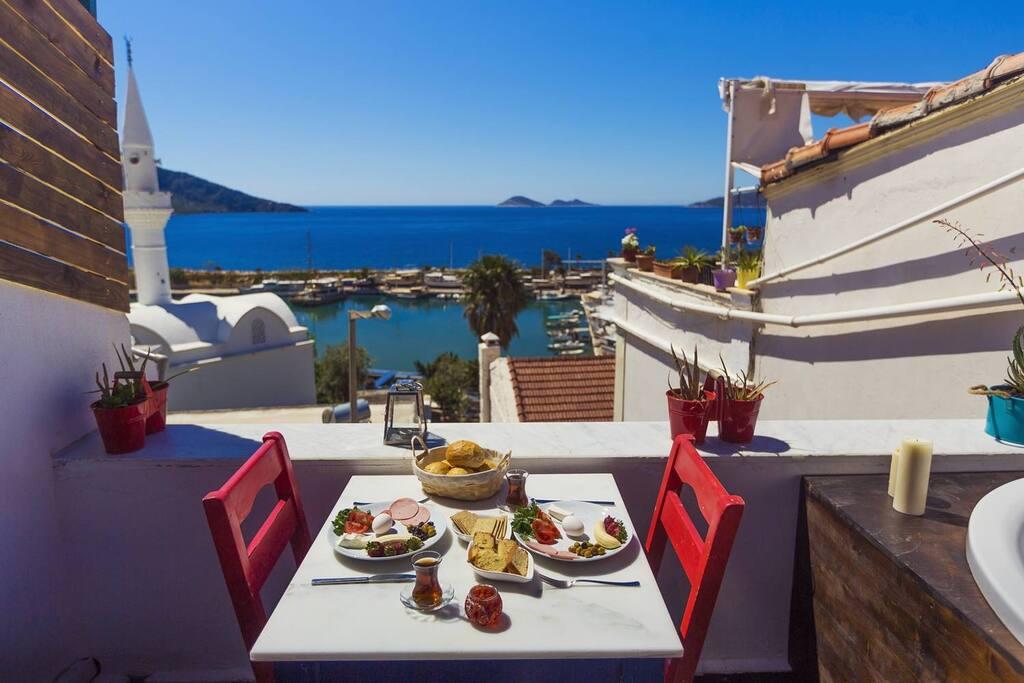 Enjoy breakfast overlooking Kalkan's bays and the Mediterranean Sea