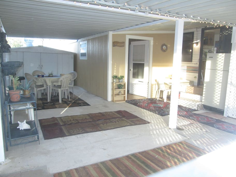 Large, enclosed, and private outdoor living space for the true feel of Quartzsite living.