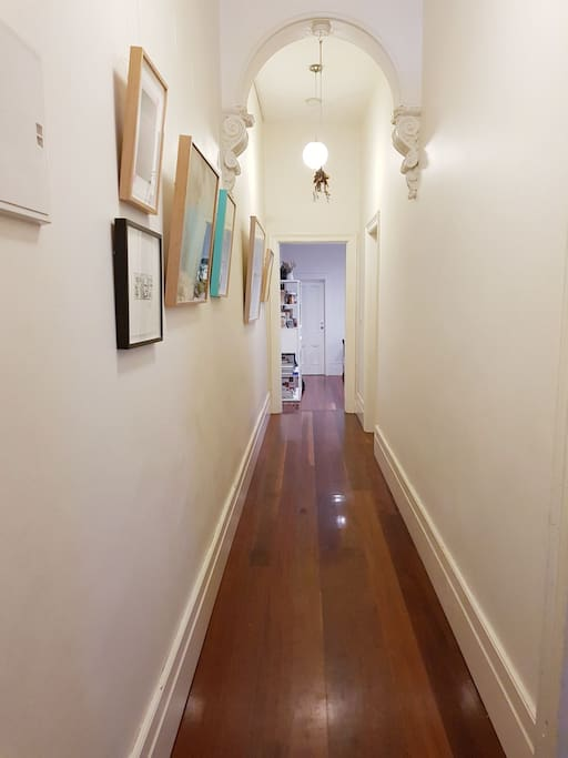 Hallway with artworks