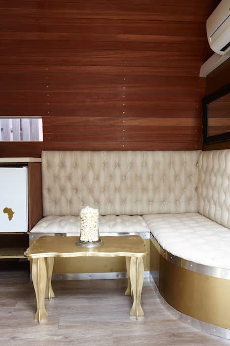 Gold Rooftop Airstream Trailer Interior